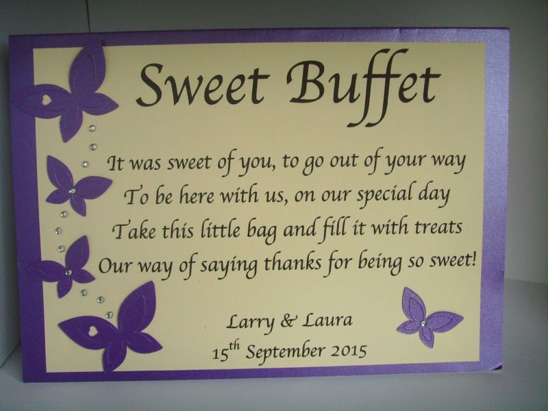 Personalised Sweet Sweetie Candy Bar Buffet Table Sign Poem Free Postage