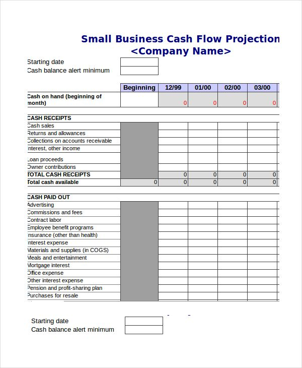 small business cash flow template