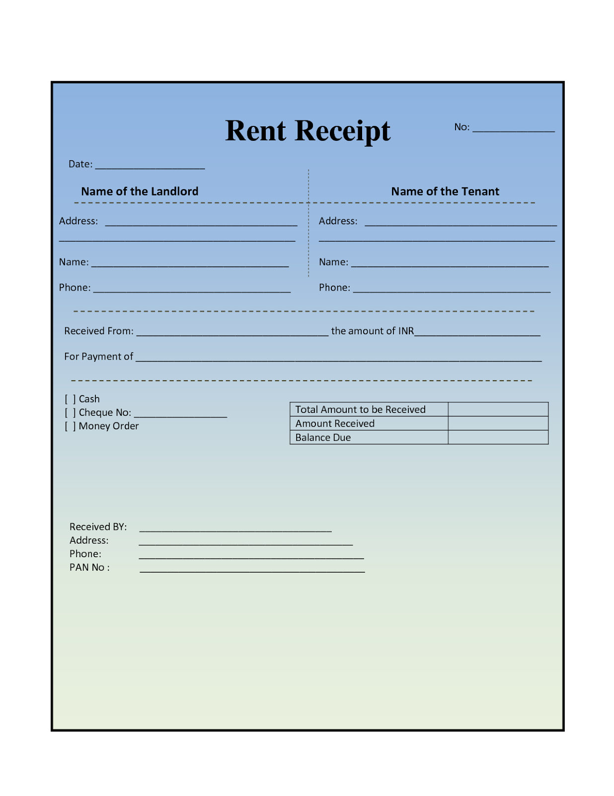 House Rental Invoice Template in Excel Format – Rental Receipt Template Excel