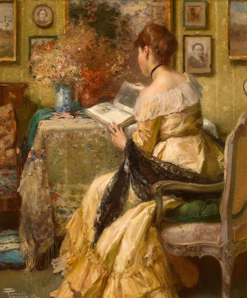 """books0977: Peaceful Reading. Fernand Toussaint (Belgian, 1873-1956). Oil on panel. According to Mario de Monchi, Toussaint was the """"incontestable master of the grace and charm of the woman."""" His classical artistic schooling in drawing gave his work a certain precision, but it was Toussaint's travels and friendships that influenced his choice of palette and the tender sensuality with which he endowed the paintings he most loved creating, his portraits of women."""