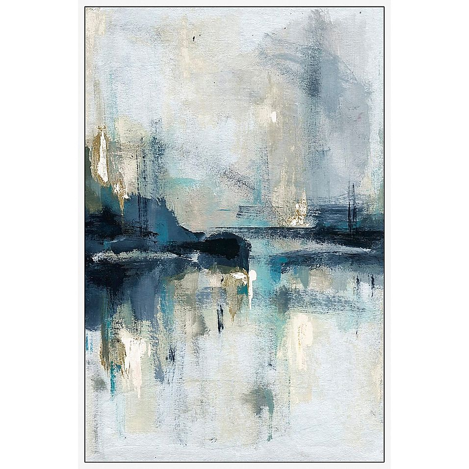 Marmont Hill Senne Flueve Floater Framed Canvas Wall Art Bed Bath Beyond Blue Abstract Painting Abstract Framed Canvas Wall Art