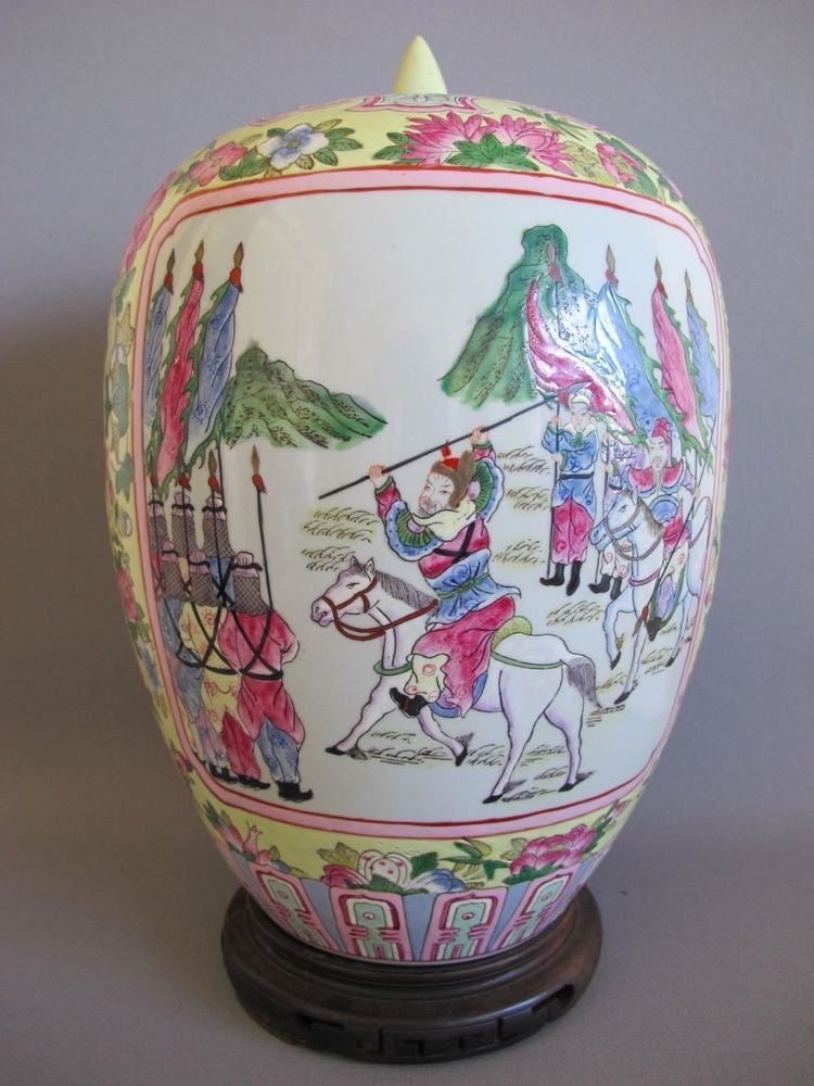 Asian pottery large lidded vase