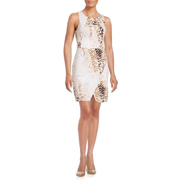 Jessica Simpson Animal-Print Knit Dress ($98) ❤ liked on Polyvore featuring dresses, natural print, stretchy dresses, white knit dress, stretch white dress, overlay dress and white animal print dress