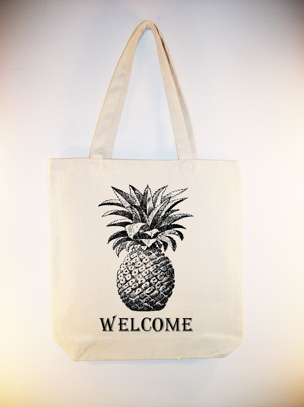 Pineapple Welcome Illustration on 15x15 Canvas Tote - larger zip top tote style and personalization available, print in ANY COLOR