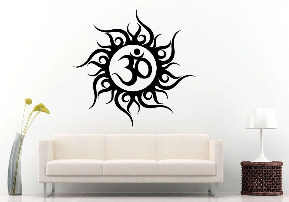 Wall Room Decal Vinyl Sticker Om Yoga Symbol Inside Tribal Sun Mandala L896 #3M #VinylPrintArtDecalStickerDecorWallRoomHome