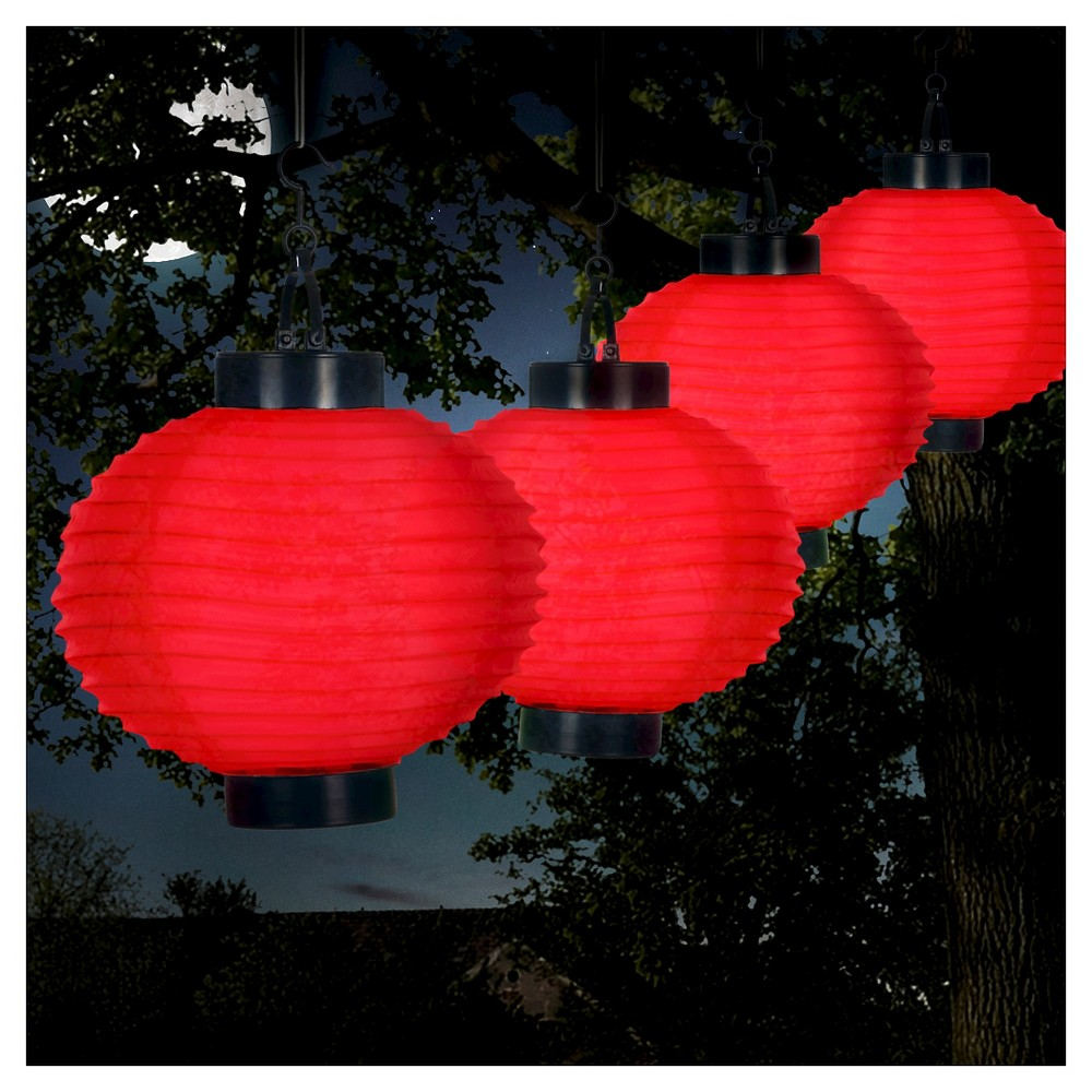 Pure Garden Outdoor Solar Chinese Lanterns Set Of 4 Red In 2020 Outdoor Hanging Lanterns Solar Garden Lanterns Outdoor Solar Lanterns