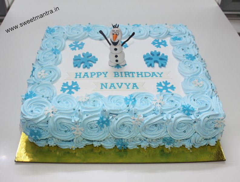 Eggless customized Frozen theme fresh cream sheet cake with 3D Olaf