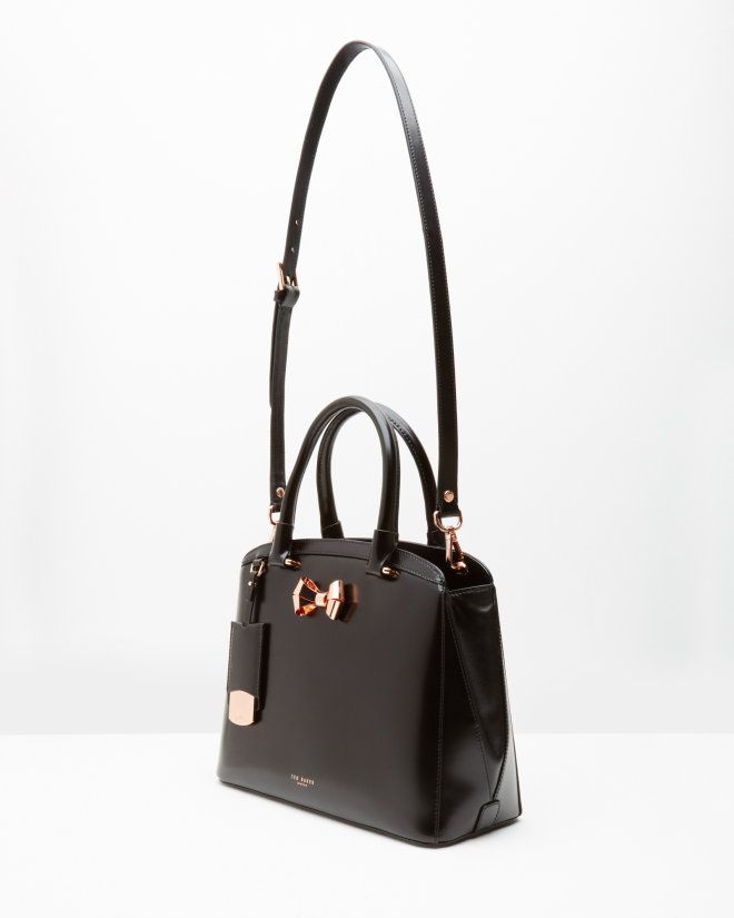 fc32729d1e7 Bow detail leather large tote bag - Black | Bags | Ted Baker UK ...