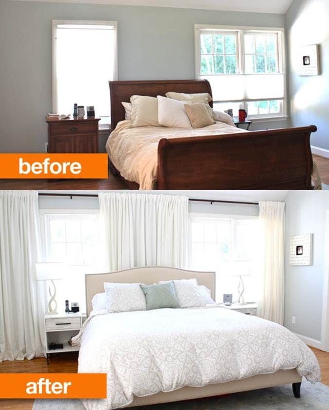 Before After Disguising Offset Windows Behind A Bed Bedroom