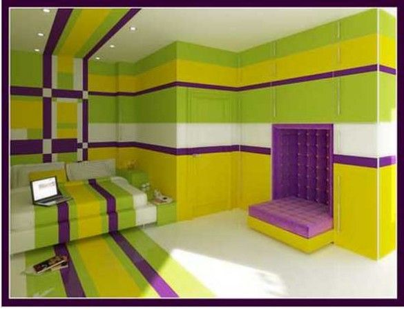 Bedroom Paint Colors - Yellow And Purple Bedroom Decorating Ideas ...