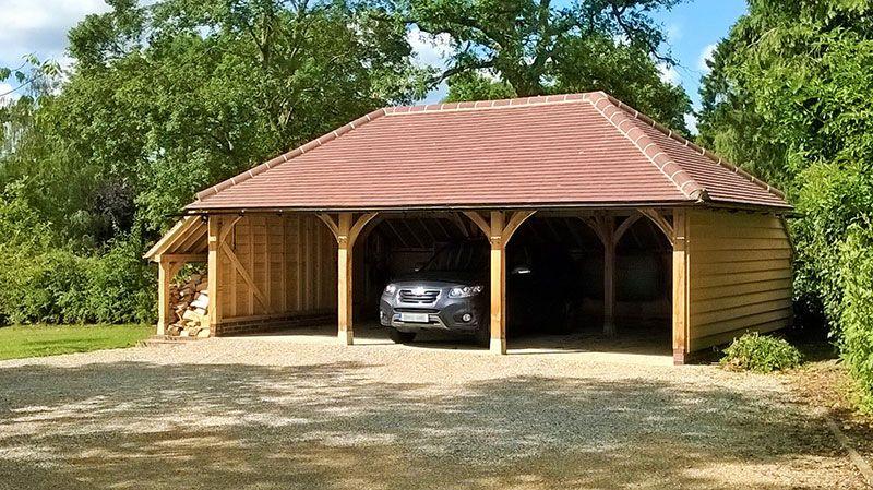 Oak Framed Car Port With Brick Built Double Garage And Room Above