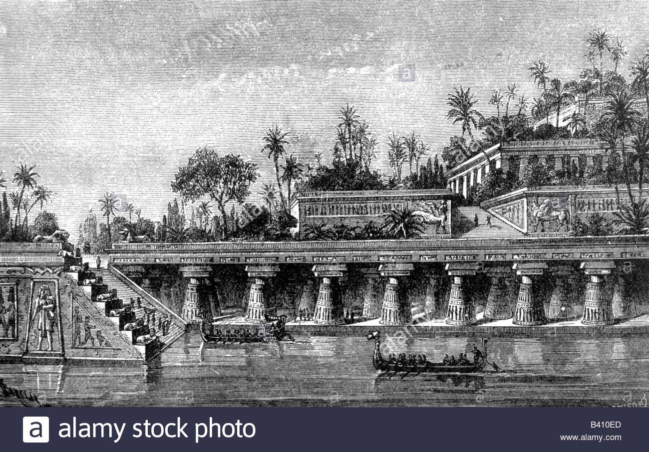 Stock Photo Ancient World Wonder Of The World Hanging Gardens Of Babylon Historic Image Engraving 19th Century Gardens Of Babylon Hanging Garden Babylon