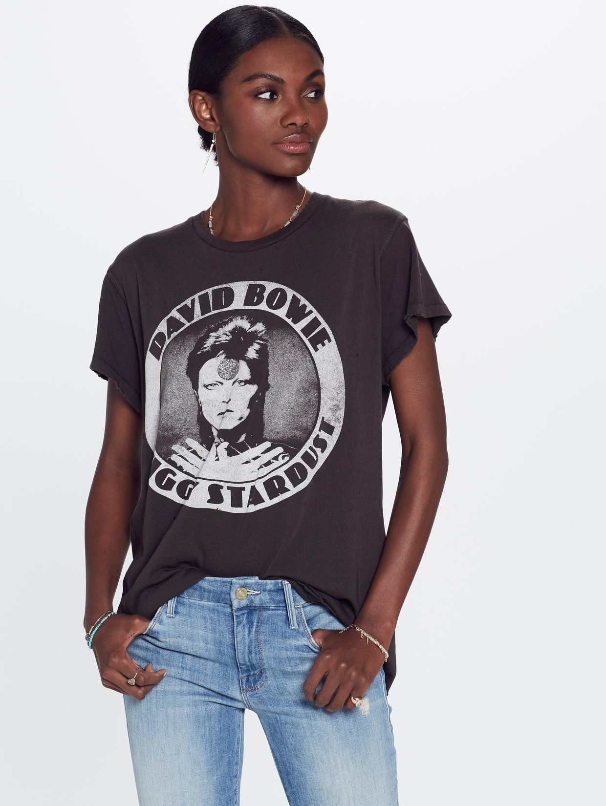 601b6e53e MadeWorn David Bowie Ziggy Crew Tee - Faded Black | wishlist: clothing