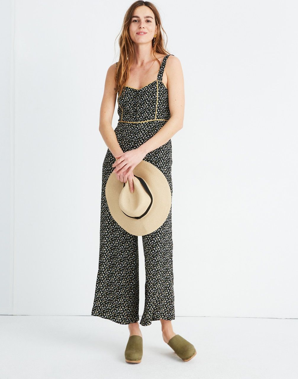 cf4dc0c19d Button-Front Wide-Leg Jumpsuit in Playground Posies in adorable floral true  black image 1