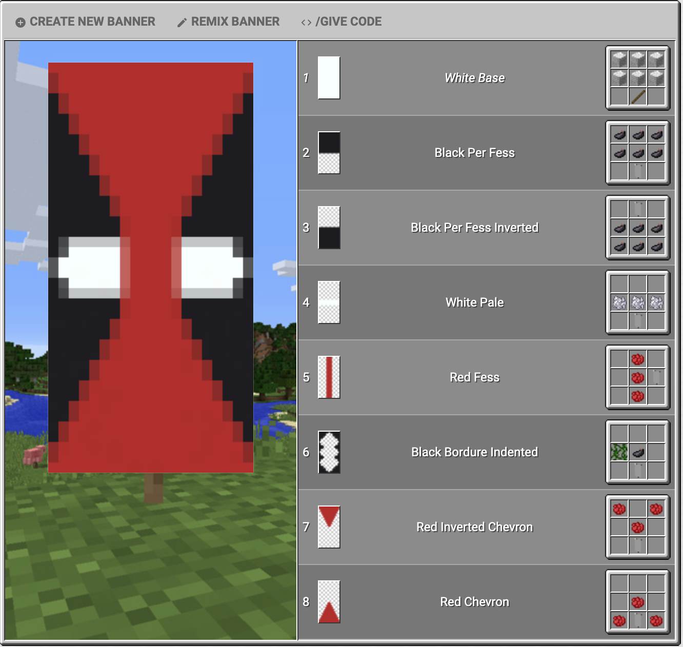 deadpool | Minecraft banner designs, Minecraft projects, Minecraft banners
