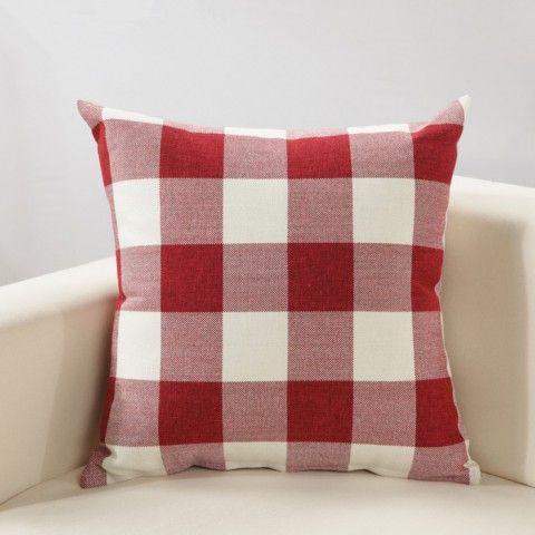 MochoHome Cotton/Linen Blend Plaid Square Decorative Throw Pillow Cover  Case Pillowcase Cushion Sham   X Red/White