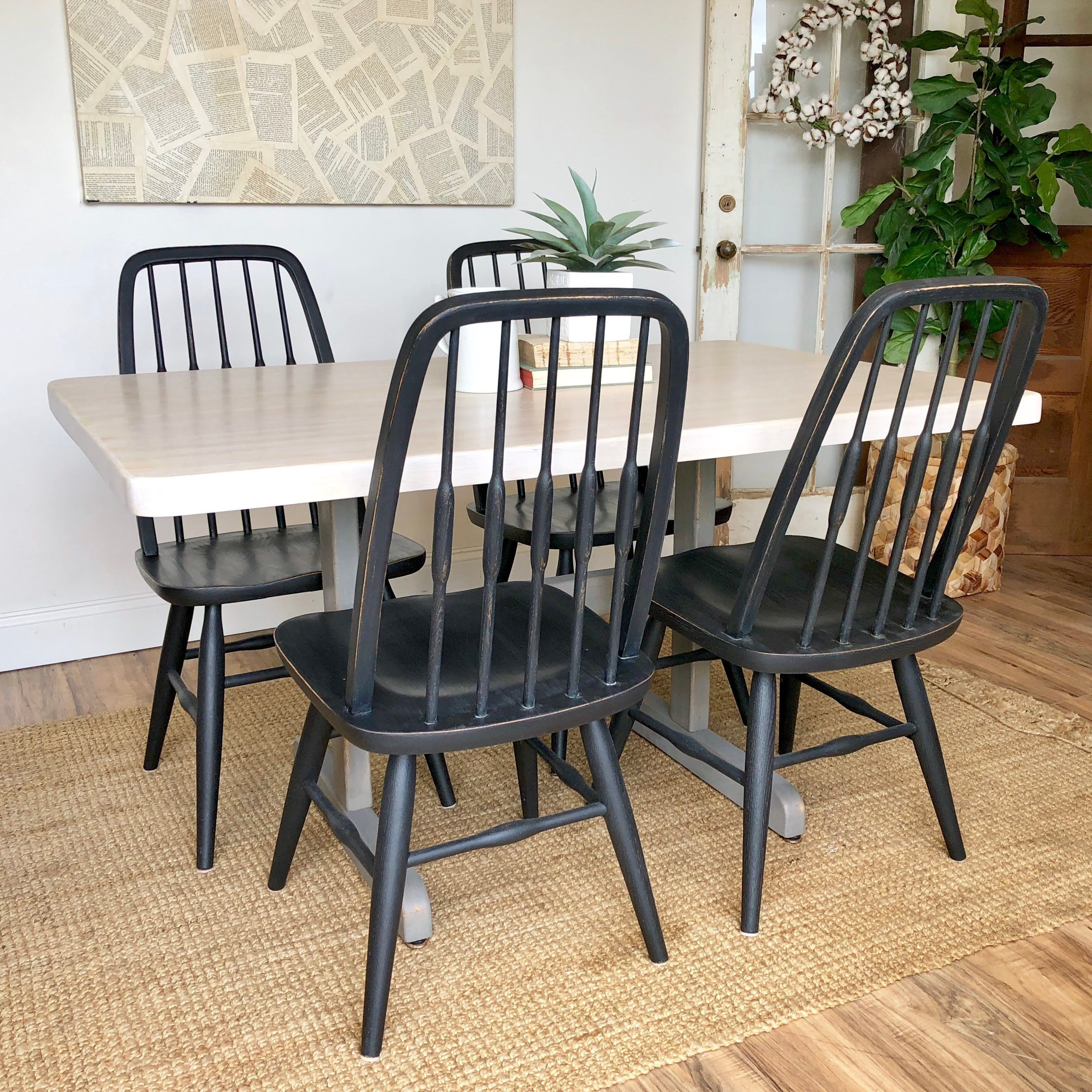 Butcher block table and chairs farmhouse furniture