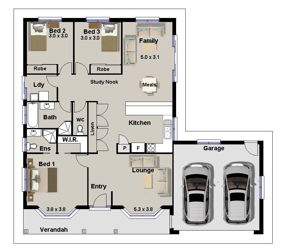 3 bedroom with office house plans - 3 Bedroom House Floor Plan