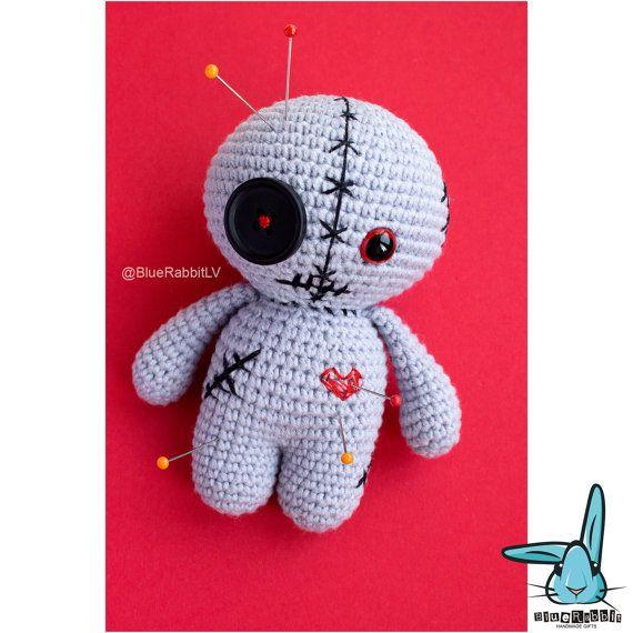 Gehäkelte Amigurumi Grau Voodoo Puppe Häkeln Monster Fantasie