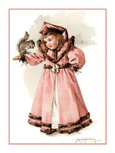 Frances Brundage Young Girl Playing with Her Doll Counted Cross Stitch  Pattern