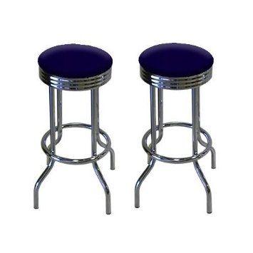 2 Blue Velvet 29 Specialty Chrome Barstools Bar Stools