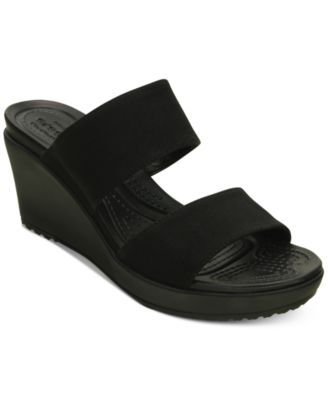 Crocs Women's Leigh Ii 2 Strap Wedge Sandals Black 11