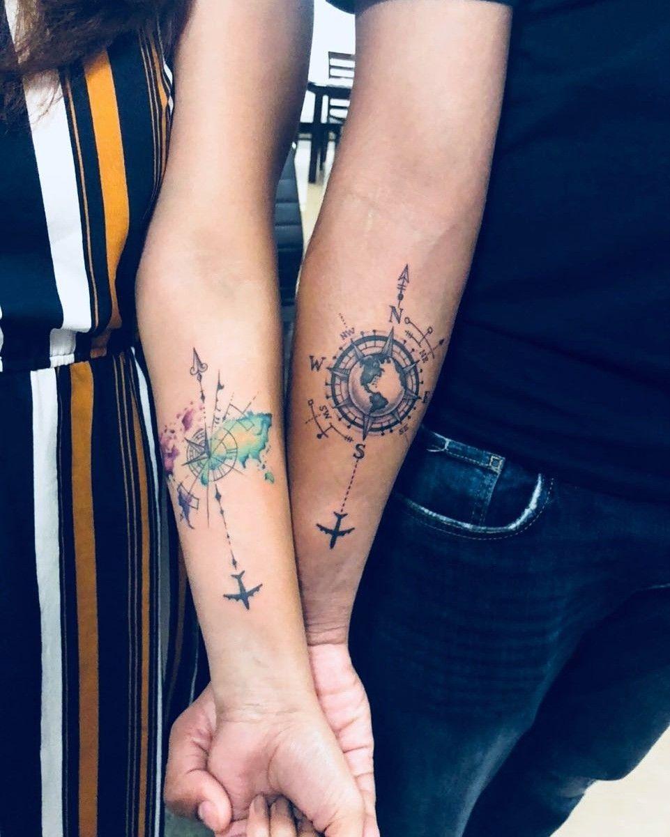 Couple tattoo #coupletattoo #travel #traveltattoo #tattoodesign #watercolor  – usw