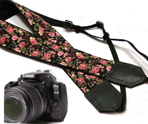 Flowers Camera strap. Roses... from InspirationWork on Wanelo