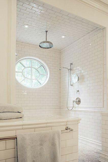 White Subway Tile Bath Rain Shower Oval Window Tile Patterns