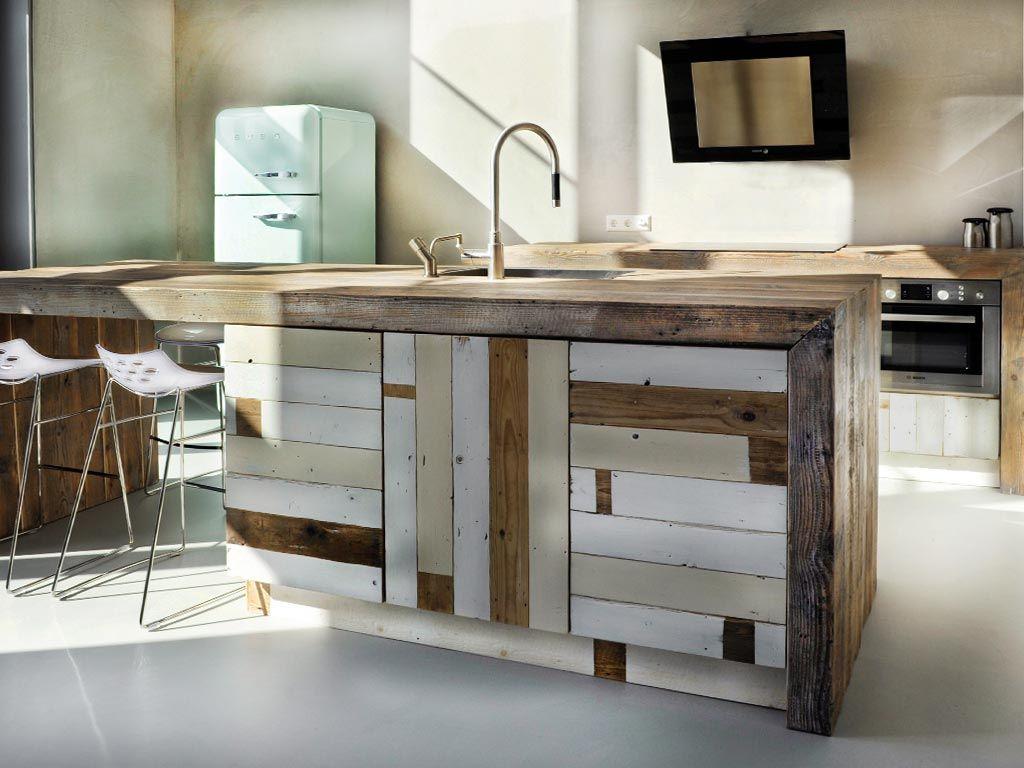 Houten keuken sloophout kitchen inspiration pinterest for Keuken van sloophout