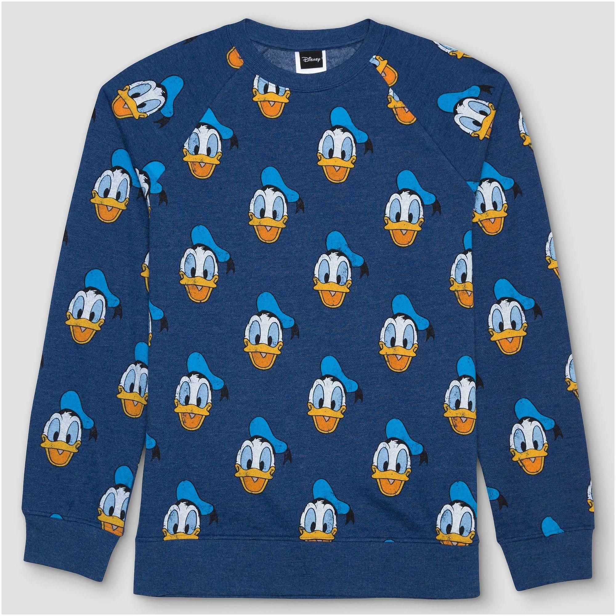 Men s Disney Donald Duck Print Crew Neck Sweatshirt - Navy Xxl eb9193d72