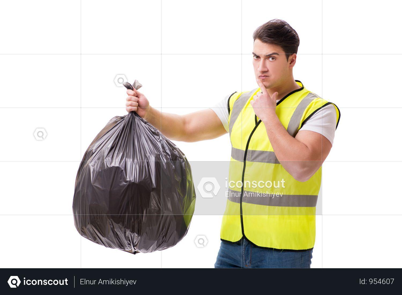 Premium Man With Garbage Sack Isolated On White Photo Download In Png Jpg Format Garbage Sack Man