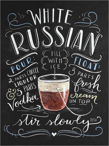 Premium-Poster White Russian Rezept (Englisch) #weddingguide