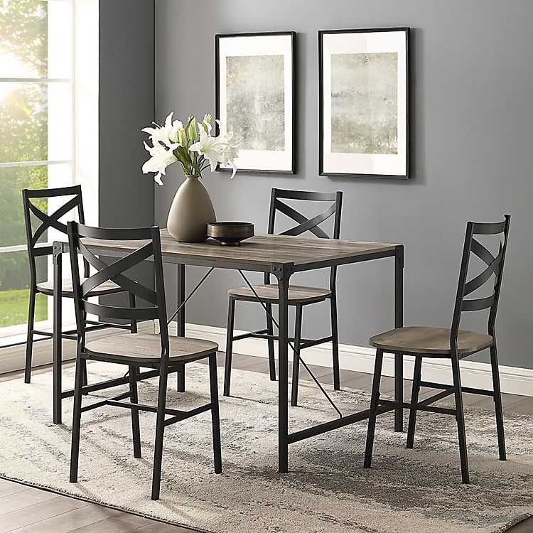 Grey washed table with four chairs. I am sooooo in love ...