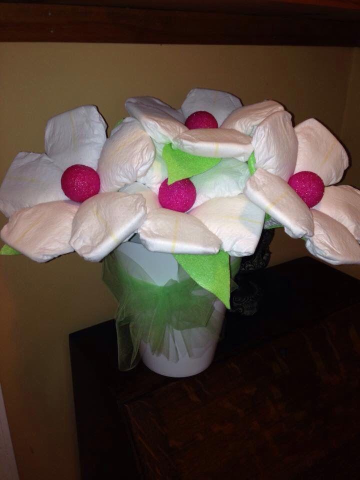 Diaper flower bouquet | Baby Shower Stuff | Pinterest | Diaper ...
