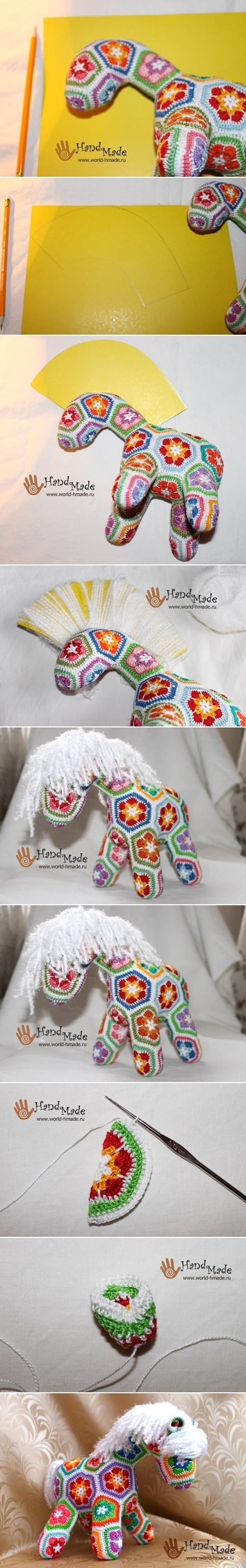Crochet African Flower Horse Pattern : Crochet ?Afrain Flower? Horse DIY www.FabricArtDIY.com ...