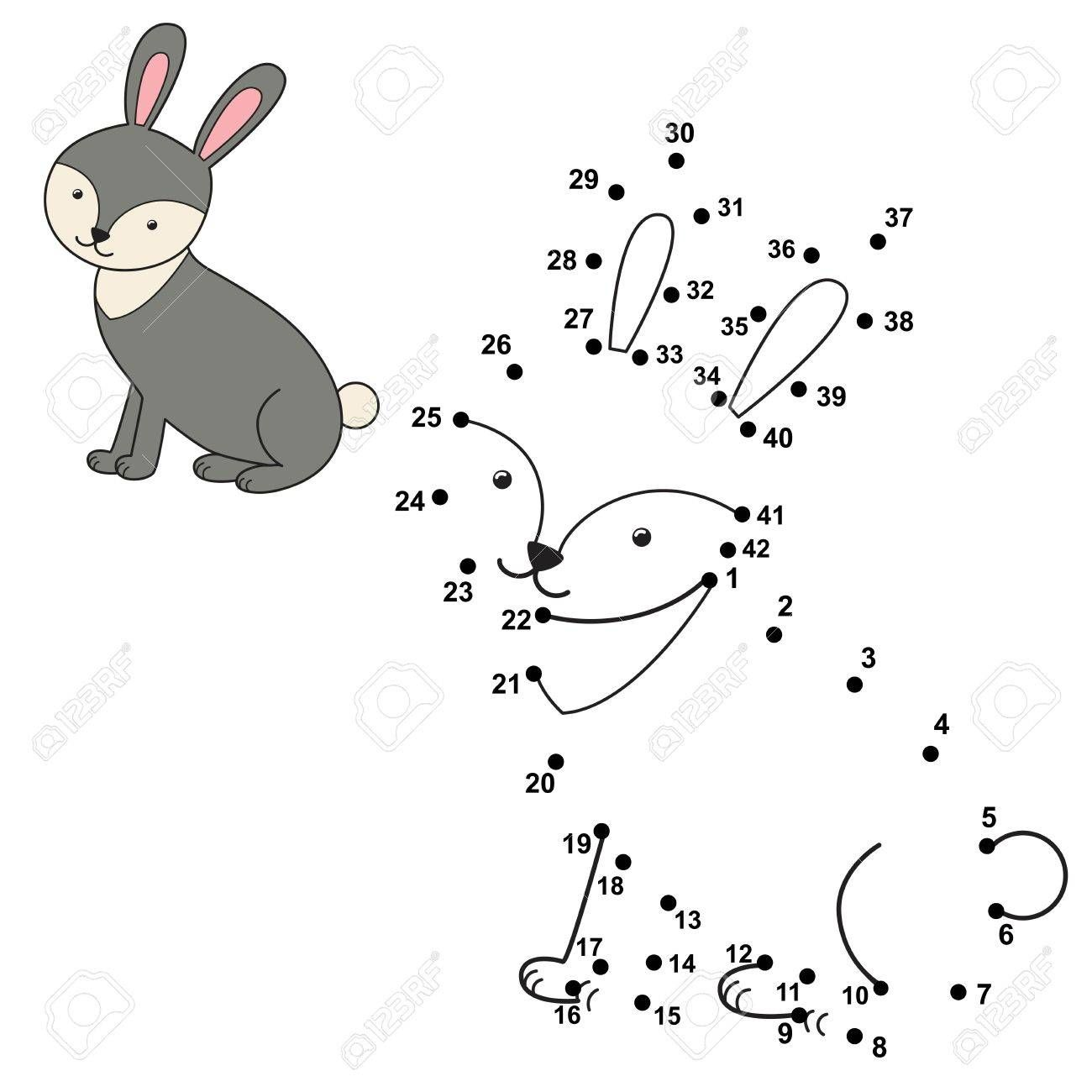 Connect The Dots To Draw The Cute Rabbit And