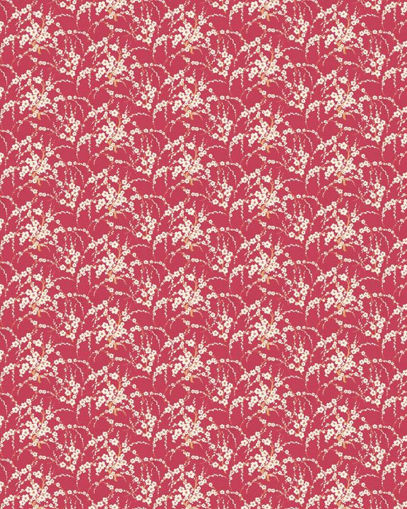 Dollhouse Wallpaper French Thistle Red