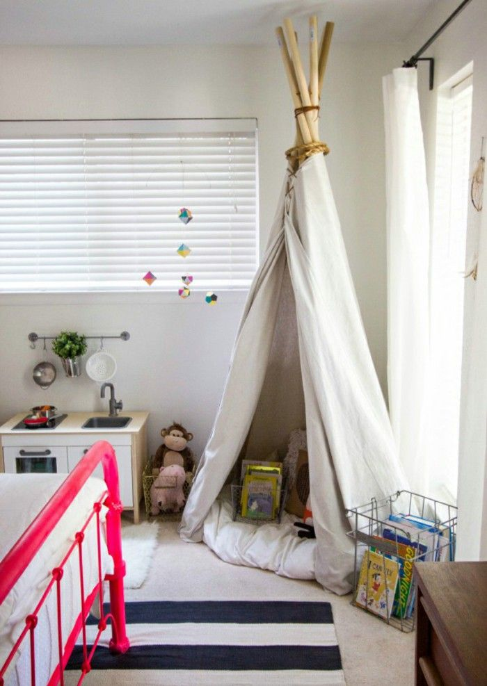 Interior design ideas kids room tent pink bed strips carpet & Interior design ideas kids room tent pink bed strips carpet | Kids ...