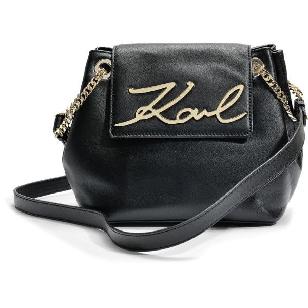 K/Signature Small Drawstring Bag in Black Smooth Calf Leather Karl Lagerfeld nVyHttL0OR