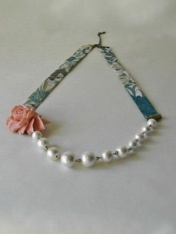 cotton pearl×liberty ネックレス - ビーズデュオ
