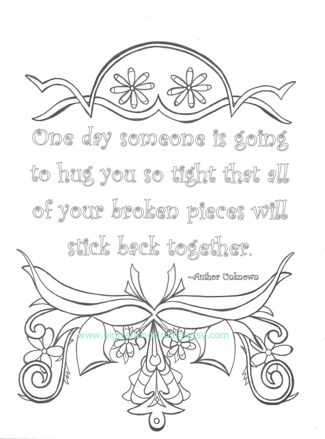 Adult coloring pages with quotes printable - Adult Coloring Page Colouring Coloring For Grown Ups Hug Quote Hand Drawn Printable Digital Download