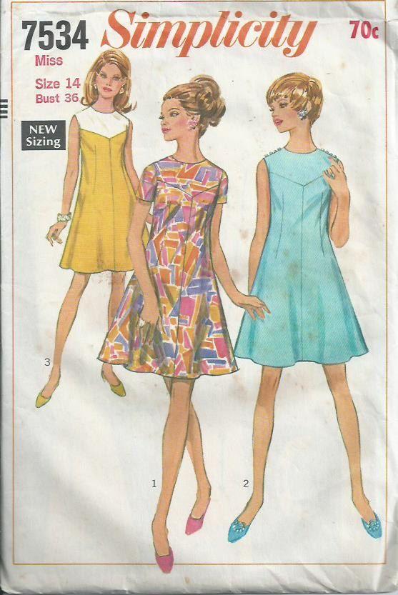 60s Dress - Simplicity Pattern No.7534 - 1968
