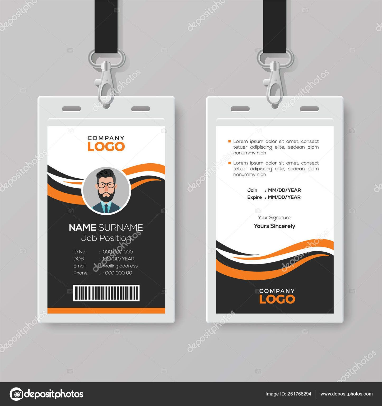 Creative Modern Id Card Template With Orange Details Stock For Photographer Id Ca In 2020 Id Card Template Free Business Card Templates Business Card Template Design