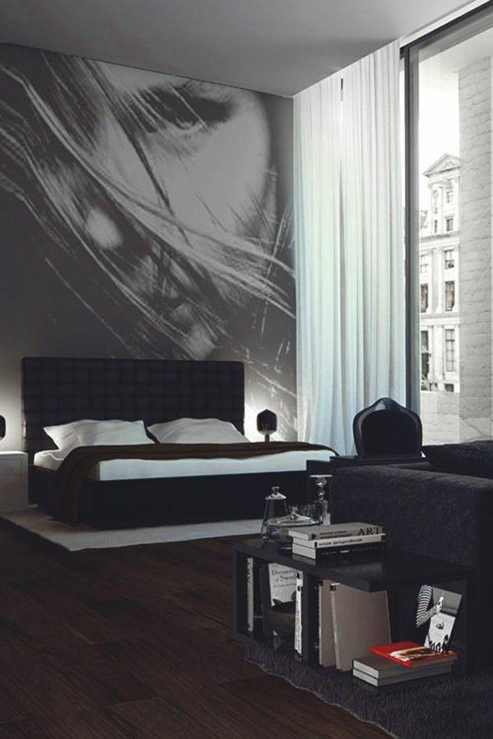 deko ideen schlafzimmer schwarzes bett boden aus holz bild weisse