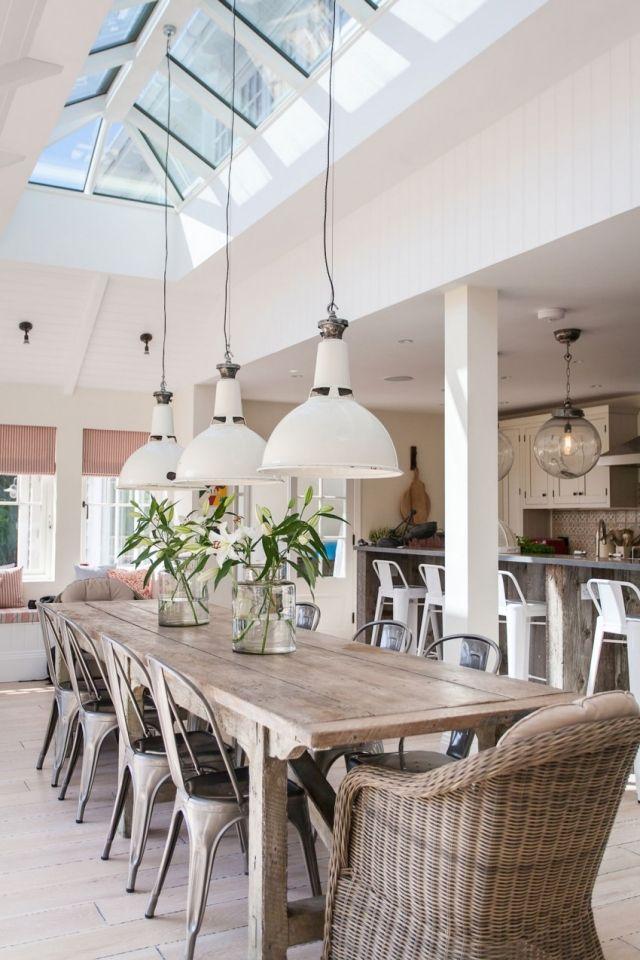 essbereich dachfenster-abgependelte von der decke Lampen - wohnzimmer mit essbereich ideen