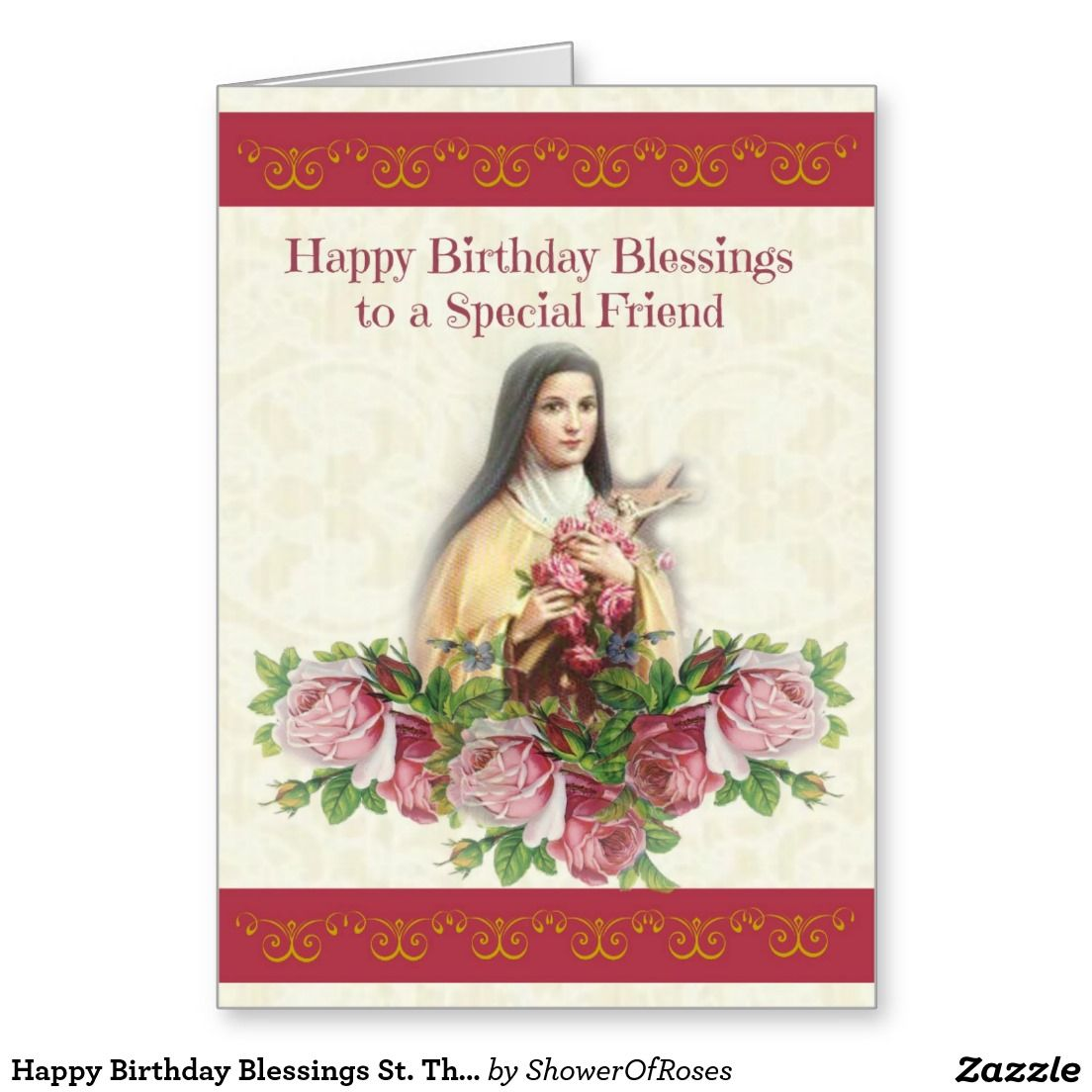Happy birthday blessings st therese greeting card shower of happy birthday blessings st therese greeting card kristyandbryce Choice Image