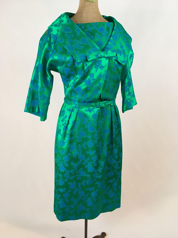 fa2a362940 1950s Brocade Sheath Dress Emerald Green by Parklane Debs Vintage 50s  Jacquard Brocade Sheath Dress Emerald Green Azure Blue Jacket Set
