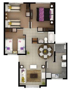 Como distribuir 70 metros cuadrados casa pinterest for Diseno para casa de 90 metros cuadrados