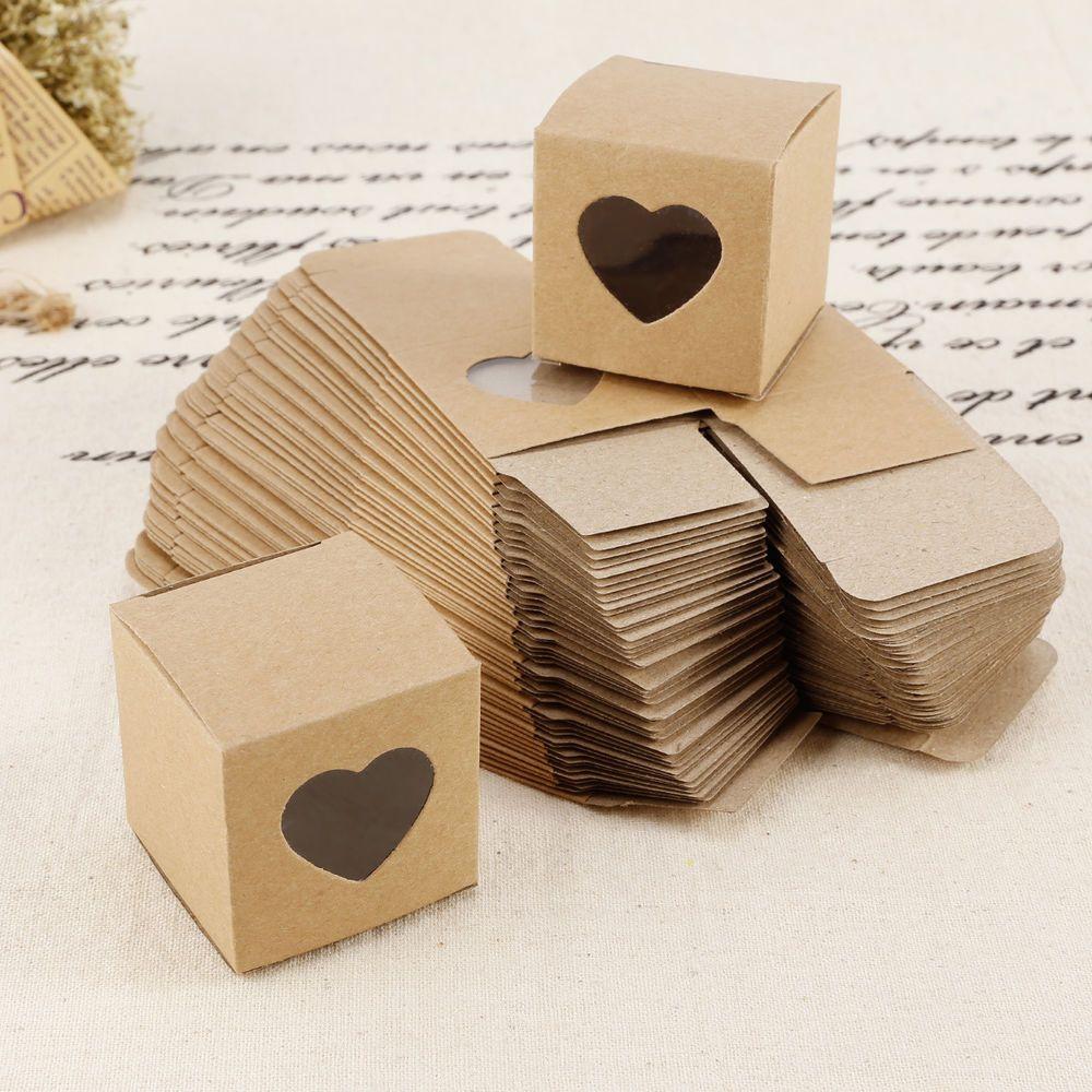 50 x Kraftpapier mit Herz Bonboniere Geschenkbox ...